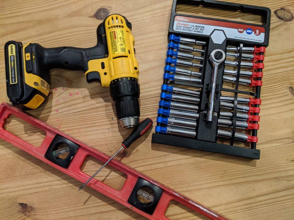 Tools used to install rv solar kit.